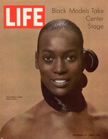 "Cover of LIFE magazine dated 10-17-1969 w. logo & photo of model Naomi Sims by Yale Joel w. legend ""Black Models Take Center Stage."""