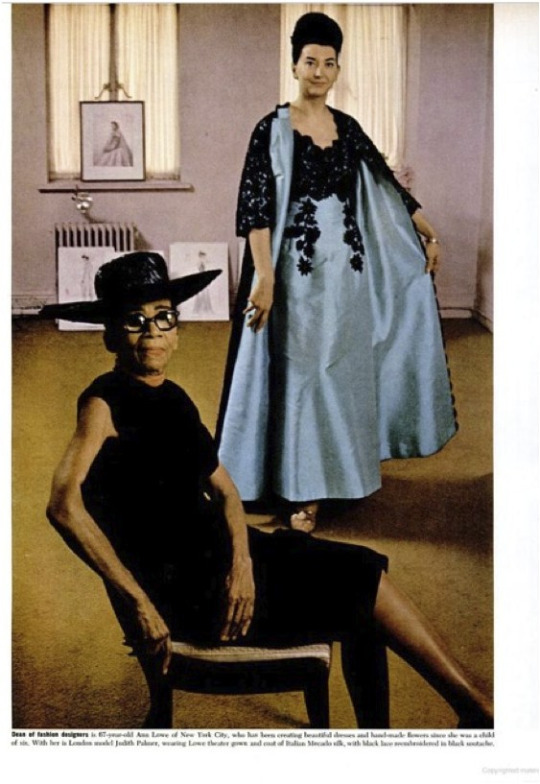 Ann Lowe in her New York salon with model Judith Palmer, Ebony magazine, 1966.
