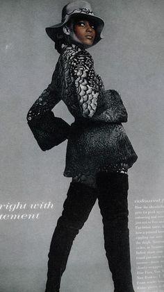 Naomi Sims wearing Halston