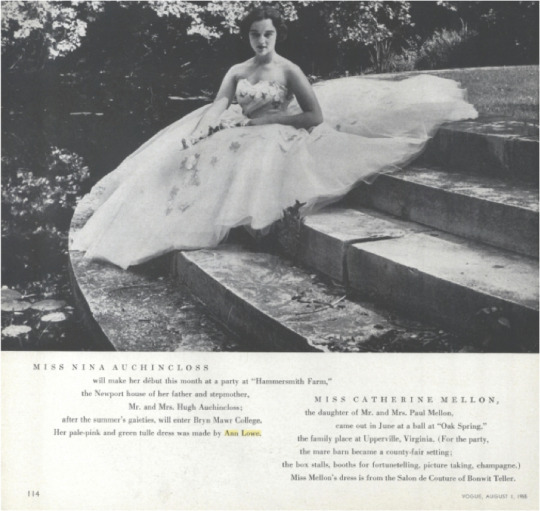 Nina Auchincloss (Jacqueline Bouvier_s step sister) in an Ann Lowe dress in the August 1, 1955, issue of Vogue magazine.