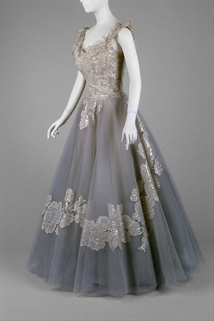 Nylon, silk evening dress with metallic thread by Ann Lowe, circa 1960, now owned by the Metropolitan Museum of Art.
