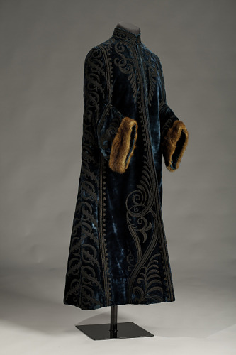 One of the many rare items in the designer collection now housed in the Smithsonian National Museum for African American History in Washingtion, D.C.: silk velvet, satin and fur opera coat made by former slave, Louvenia Price, circa 1900