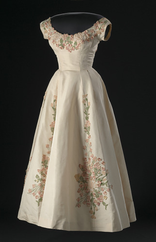 A silk, tulle and linen dress designed by Anne Lowe (1958), one of several from Lois Alexander's collection now housed at the Smithsonian National Museum for African American History.
