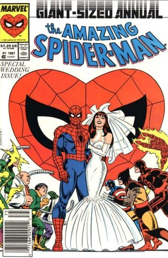The Amazing Spider-Man comic book cover with Mary Jane wearing Willi Smith's design.